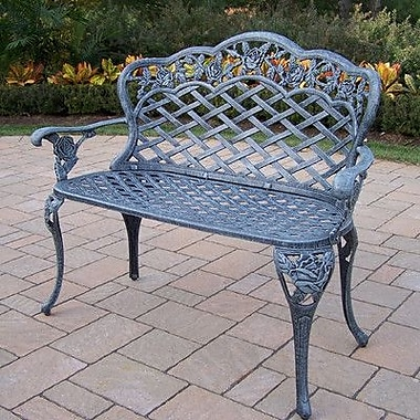 Oakland Living Tea Rose Aluminum Garden Bench; Verdi Grey