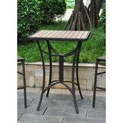 International Caravan Barcelona Wicker Resin/Aluminum Patio Table; Black Antique