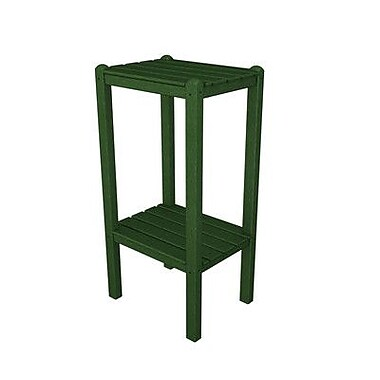 POLYWOOD Two Shelf Bar Height Side Table; Green