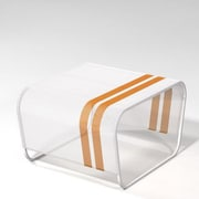 Markamoderna Lami Perforated Stainless Steel Side Table; White with Orange Racing Stripes