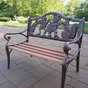 Oakland Living Band Kiddy Wood and Cast Iron Park Bench; Antique Bronze