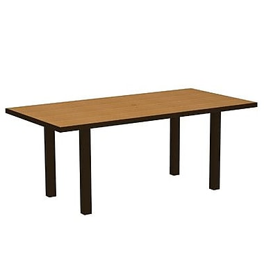 POLYWOOD Euro Dining Table; Textured Bronze Aluminum Frame / Plastique