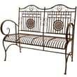 Oriental Furniture Rustic Metal Garden Bench; Rust Patina