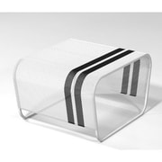 Markamoderna Lami Perforated Stainless Steel Side Table; White with Black Racing Stripes