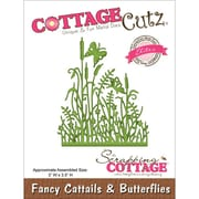 "CottageCutz® Elites 3 1/2"" x 3"" Thin Metal Die, Fancy Cattails and Butterflies"