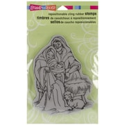 "Stampendous® 4"" x 5 1/4"" Christmas Cling Rubber Stamp, Manger Family"