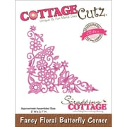 "CottageCutz® Elites 3.1"" x 3"" Thin Metal Die, Fancy Floral Butterfly Corner"