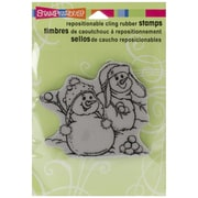 "Stampendous® 4"" x 4"" Christmas Cling Rubber Stamp, Snowball Fight"