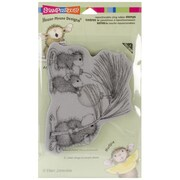 """Stampendous® 4"""" x 5 1/4"""" House Mouse Cling Rubber Stamp, Deck The Halls"""