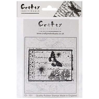 Crafty Individuals 90 mm x 67 mm Unmounted Rubber Stamp, Parisian Butterfly