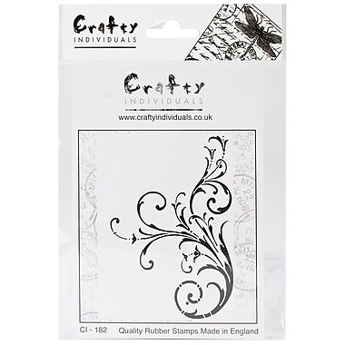 Crafty Individuals 70 mm x 98 mm Unmounted Rubber Stamp, Large Elegant Swirl