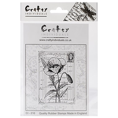 Crafty Individuals 60 mm x 85 mm Unmounted Rubber Stamp, Pretty Poppy