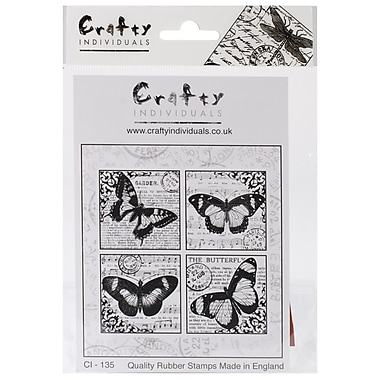 Crafty Individuals 85 mm x 85 mm Unmounted Rubber Stamp, 4 Beautiful Butterflies