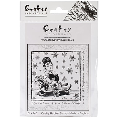 Crafty Individuals 85 mm x 85 mm Unmounted Rubber Stamp, Little Snow Baby