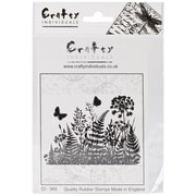 Crafty Individuals 95 mm x 68 mm Unmounted Rubber Stamp, Ferns and Butterflies Silhouette