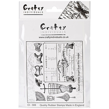 Crafty Individuals 96 mm x 137 mm Unmounted Rubber Stamp, French Corsets
