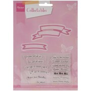 """Ecstasy Crafts® Marianne Designs Collectables 4 3/4"""" x 3"""" Die, Banners & Text Christmas"""