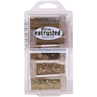 Stampendous® Encrusted Jewel Kit, Gold, 5/Pack