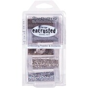 Stampendous® Encrusted Jewel Kit, Silver, 5/Pack