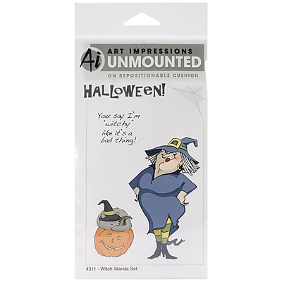 """Art Impressions 7″"" x 4″"" Halloween Cling Rubber Stamp Set, Witch Wanda"""