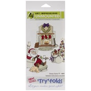 Art Impressions 9 x 4 1/2 Try'folds Cling Rubber Stamp, Sleepy Santa
