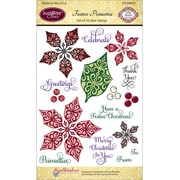 "Justrite® Papercraft 4"" x 6"" Clear Stamp Set, Festive Poinsettia"