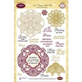 Justrite® Papercraft 6in. x 8in. Three Clear Stamp Set, Lace Vintage Labels