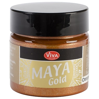 Viva Decor Maya Gold 50 ml Liquid Metallic Paint, Orange Gold