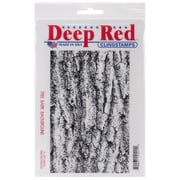 "Deep Red 4"" x 6"" Cling Rubber Stamp, Tree Bark Background"