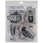"Stampers Anonymous Tim Holtz 7"" x 8 1/2"" Unmounted Cling Rubber Stamp Set, Halloween Blueprints #2"