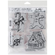 "Stampers Anonymous Tim Holtz 7"" x 8 1/2"" Cling Rubber Stamp Set, Christmas Blueprints #3"