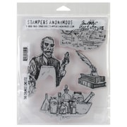 "Stampers Anonymous Tim Holtz 7"" x 8 1/2"" Unmounted Cling Rubber Stamp Set, The Chemist"
