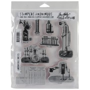 "Stampers Anonymous Tim Holtz 7"" x 8 1/2"" Unmounted Cling Rubber Stamp Set, Laboratory"