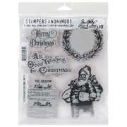 "Stampers Anonymous Tim Holtz 7"" x 8 1/2"" Cling Rubber Stamp Set, Old Fashioned Christmas"