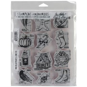 "Stampers Anonymous Tim Holtz 7"" x 8 1/2"" Large Cling Rubber Stamp Set, Mini Blueprints #5"