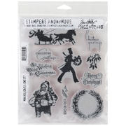 Stampers Anonymous Tim Holtz 7 x 8 1/2 Large Cling Rubber Stamp Set, Mini Holidays #5