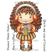 "La-La Land Crafts 4"" x 3"" Mounted Cling Rubber Stamp, Hot Cocoa Marci"