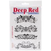 "Deep Red 4"" x 6"" Cling Rubber Stamp, Vector Flourishes"