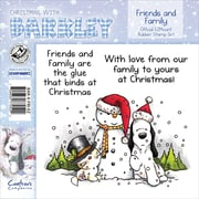 "Barkley EZMount 4 3/4"" x 4 3/4"" Christmas Cling Stamp Set, Friends & Family"