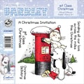 Barkley EZMount 4 3/4in. x 4 3/4in. Christmas Cling Stamp Set, 1st Class Christmas