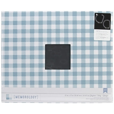 American Crafts™ Cloth D-Ring Album, 12in. x 12in., Gingham Blue