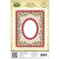Justrite® Papercraft 4 1/2in. x 5 3/4in. Background Cling Stamp, Holly Frame