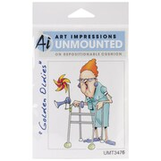 "Art Impressions Golden Oldies 4"" x 2 1/4"" Cling Rubber Stamp, Jean"