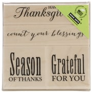 "Hero Arts® 3"" x 3"" Wood Mounted Rubber Stamp Set, Joyful Thanksgiving"