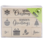 "Hero Arts® 3"" x 2 1/2"" Wood Mounted Rubber Stamp Set, Tiny Christmas"