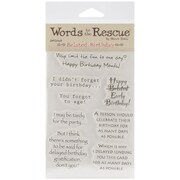 """Words To The Rescue 8"""" x 4 1/2"""" Clear Stamp Set, Belated Birthday"""