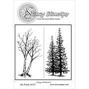 "Stacy Stamps 3 1/2"" x 2"" Mounted Cling Rubber Stamp, The Woods"