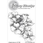 "Stacy Stamps 3 1/4"" x 3 3/4"" Mounted Cling Rubber Stamp, Chipping Sparrow"