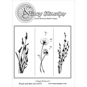 "Stacy Stamps 3"" x 3 1/4"" Mounted Cling Rubber Stamp, Weeds & More"