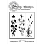 "Stacy Stamps 3 1/4"" x 1"" Mounted Cling Rubber Stamp, Solid Wildflowers"